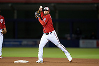 Washington Nationals second baseman Luis García (2) looks to throw to first base during a Major League Spring Training game against the Miami Marlins on March 20, 2021 at FITTEAM Ballpark of the Palm Beaches in Palm Beach, Florida.  (Mike Janes/Four Seam Images)