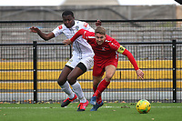 Connor Witherspoon of Aveley and Anointed Chukwu of Romford during Romford vs Aveley, Pitching In Ishmian League North Division Football at Mayesbrook Park on 26th September 2020
