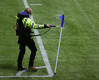 2nd February 2021; Rugby Park, Kilmarnock, East Ayrshire, Scotland; Scottish Premiership Football, Kilmarnock versus Celtic; A member of the ground staff sprays the corner flag to make it covid secure at half time