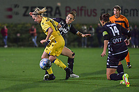 Celien Guns (10) of Club Brugge and Hanne Hellinx (3) of Sporting du Pays de Charleroi pictured during a female soccer game between Sporting Charleroi and Club Brugge YLA on the sixth matchday in the 2021 - 2022 season of Belgian Scooore Womens Super League , friday 8 October 2021 in Marcinelle , Belgium . PHOTO SPORTPIX   STIJN AUDOOREN