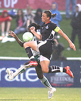 Abby Wambach #20 of the Washington Freedom clashes with Tina Ellerton #8 of St. Louis Athletica during a WPS match at the Maryland Soccerplex on May 3, 2009 in Boyds Maryland. The game ended in a 3-3 tie.