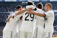 Real Madrid's Karim Benzema, Raphael Varane, Alvaro Morata, Sergio Ramos and Pepe celebrate goal and FC Barcelona's  during La Liga match.March 02,2013. (ALTERPHOTOS/Acero) /NortePhoto