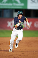 Vermont Lake Monsters first baseman Chris Iriart (18) running the bases during a game against the Hudson Valley Renegades on September 3, 2015 at Centennial Field in Burlington, Vermont.  Vermont defeated Hudson Valley 4-1.  (Mike Janes/Four Seam Images)