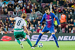 Gerard Pique Bernabeu of FC Barcelona (R) fights for the ball with Takashi Inui of SD Eibar (L) during the La Liga 2017-18 match between FC Barcelona and SD Eibar at Camp Nou on 19 September 2017 in Barcelona, Spain. Photo by Vicens Gimenez / Power Sport Images