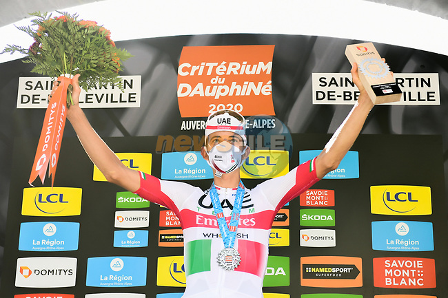 Italian Champion Davide Formolo (ITA) UAE Team Emirates wins solo Stage 3 of Criterium du Dauphine 2020, running 157km from Corenc to Saint-Martin-de-Belleville, France. 14th August 2020.<br /> Picture: ASO/Alex Broadway | Cyclefile<br /> All photos usage must carry mandatory copyright credit (© Cyclefile | ASO/Alex Broadway)