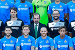 Getafe CF's second coach Sergio Pelegrin, President Angel Torres, coach Jose Bordalas and the players Francisco Portillo, Alvaro Jimenez, Vitorino Antunes and Damian Suarez during the session of the official photo of the first team squad for the 2017/2018 season. September 19,2017. (ALTERPHOTOS/Acero)