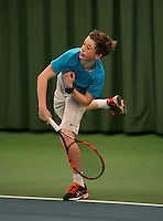Rotterdam, The Netherlands, 15.03.2014. NOJK 14 and 18 years ,National Indoor Juniors Championships of 2014, Lars Kuipers (NED)<br /> Photo:Tennisimages/Henk Koster