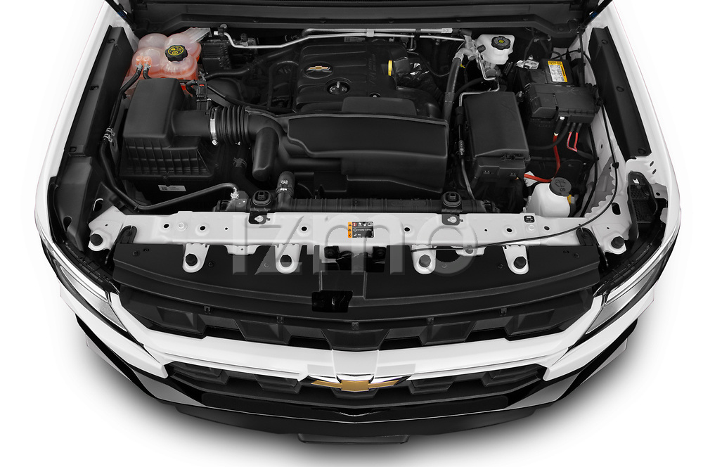 High angle engine detail of a 2021 Chevrolet Colorado LT 4 Door Trucks