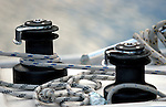 Details of winches at a sailboat at the Norwegian coast