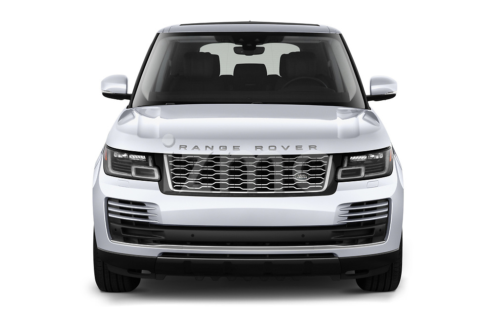 Car photography straight front view of a 2020 Land Rover Range-Rover HSE 5 Door SUV Front View