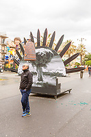 Europe, Italy, Tuscany, Viareggio, the chariot entitled the peace of crystal.controlled by his creator Fabrizio Galli, ready for the parade