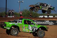 Apr 16, 2011; Surprise, AZ USA; LOORRS driver Jeremy McGrath (2) and Nick Tyree (91) during round 3 at Speedworld Off Road Park. Mandatory Credit: Mark J. Rebilas-