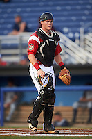Batavia Muckdogs catcher Alex Jones (55) during a game against the Brooklyn Cyclones on July 6, 2016 at Dwyer Stadium in Batavia, New York.  Batavia defeated Brooklyn 15-2.  (Mike Janes/Four Seam Images)