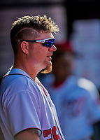 30 April 2017: Washington Nationals first baseman Adam Lind watches play from the dugout during the 8th inning against the New York Mets at Nationals Park in Washington, DC. The Nationals defeated the Mets 23-5, with the Nationals setting several individual and team records, in the third game of their weekend series. Mandatory Credit: Ed Wolfstein Photo *** RAW (NEF) Image File Available ***