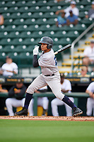 Tampa Tarpons Madison Santos (23) hits a single during Game One of the Low-A Southeast Championship Series against the Bradenton Marauders on September 21, 2021 at LECOM Park in Bradenton, Florida.  (Mike Janes/Four Seam Images)