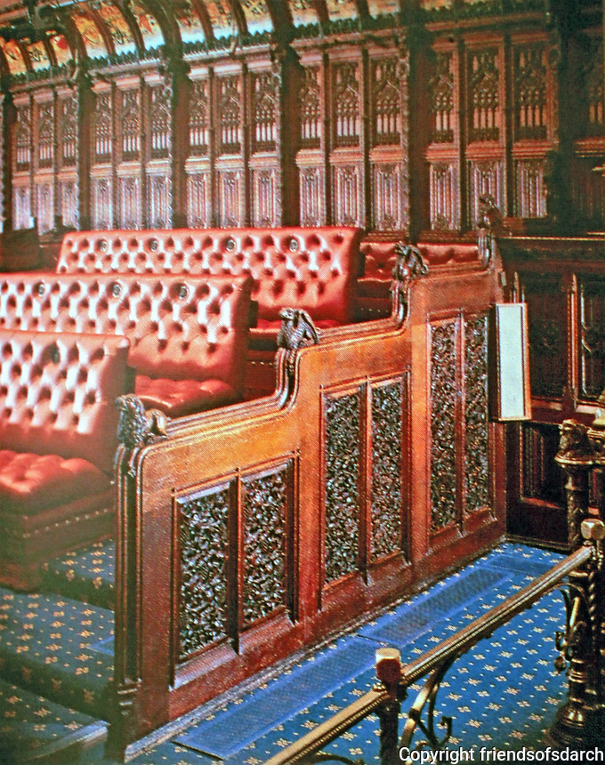 Benches in the House of Lords designed by A.W. Pugin. Palace of Westminster, London.