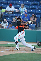 Daniel Carbonell (12) of the San Jose Giants bats during a game against the Rancho Cucamonga Quakes at LoanMart Field on August 30, 2015 in Rancho Cucamonga, California. Rancho Cucamonga defeated San Jose, 8-3. (Larry Goren/Four Seam Images)