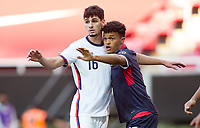 ZAPOPAN, MEXICO - MARCH 21: Johnny Cardoso #16 of the United States defending his position in the box during a game between Dominican Republic and USMNT U-23 at Estadio Akron on March 21, 2021 in Zapopan, Mexico.