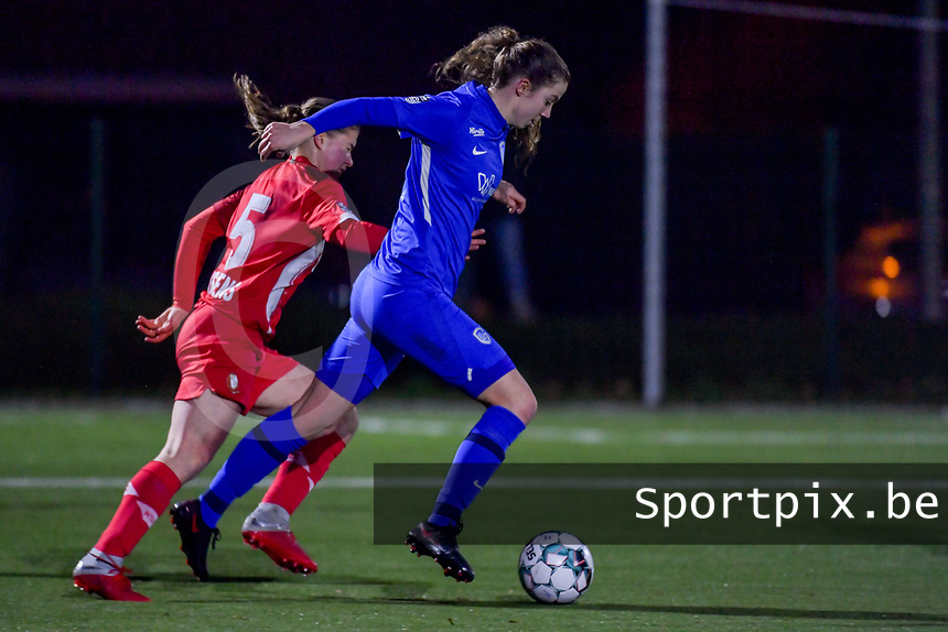 Hanne Merkelbach (25) of KRC Genk pictured during a female soccer game between  Racing Genk Ladies and Standard Femina on the 13 th matchday of the 2020 - 2021 season of Belgian Scooore Womens Super League , friday 5 th of february 2021  in Genk , Belgium . PHOTO SPORTPIX.BE | SPP | STIJN AUDOOREN