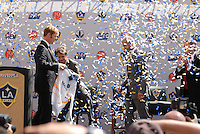 Alexi Lalas, GM of the LA Galaxy introduces soccer star David Beckham as the newest member of the Los Angeles Galaxy soccer team at the Home Depot Center in Carson, Calif., Friday, July 13, 2007.