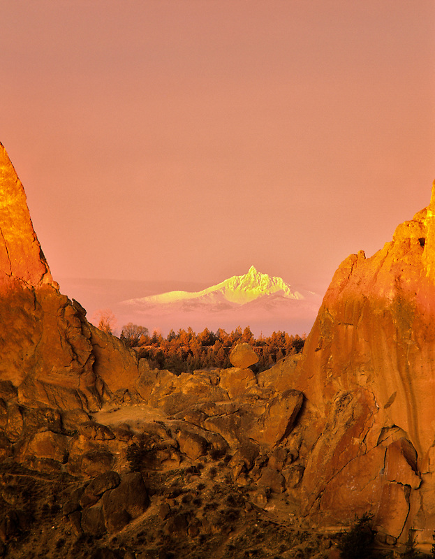 Sunrise at Smith Rock State Park. Three Fingered Jack Mountain. Oregon.