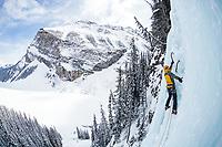 Gordon McArthur ice climbing Louise Falls, Lake Louise, Alberta, Canada