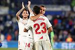 Sevilla FC's Lucas Ocampos, Juan Jordan and Sergio Reguilon celebrate the victory in La Liga match. February 23,2020. (ALTERPHOTOS/Acero)