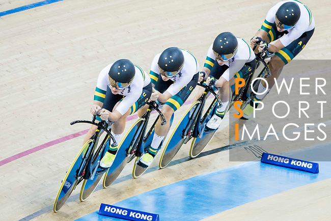 The team of Australia with Amy Cure, Ashlee Ankudinoff, Alexandra Manly and Rebecca Wiasak compete in the Women's Team Pursuit - Qualifying as part of the 2017 UCI Track Cycling World Championships on 12 April 2017, in Hong Kong Velodrome, Hong Kong, China. Photo by Chris Wong / Power Sport Images