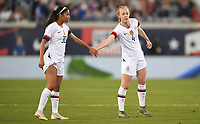 JACKSONVILLE, FL - NOVEMBER 10: Margaret Purce #30 and Becky Sauerbrunn #4 of the United States exchange fives during a game between Costa Rica and USWNT at TIAA Bank Field on November 10, 2019 in Jacksonville, Florida.
