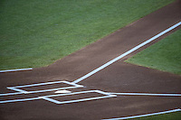 A general view of home plate and the batters box prior to a College World Series Finals game between the Coastal Carolina Chanticleers and Arizona Wildcats at TD Ameritrade Park on June 28, 2016 in Omaha, Nebraska. (Brace Hemmelgarn/Four Seam Images)