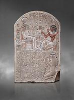 Ancient Egyptian stele dedicated to the god Khonsu by draftsman Pay, limestone, New Kingdom, 19th Dynasty, (1279-1213 BC), Deir el-Medina, Drovetti cat 1553. Egyptian Museum, Turin. Grey background