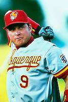 Karim Garcia of the Albuquerque Dukes during a game at Cashman Field in Las Vegas, Nevada during the 1997 season.(Larry Goren/Four Seam Images)