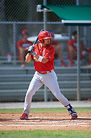 GCL Cardinals first baseman Zack Gahagan (38) at bat during a game against the GCL Nationals on August 5, 2018 at Roger Dean Chevrolet Stadium in Jupiter, Florida.  GCL Cardinals defeated GCL Nationals 17-7.  (Mike Janes/Four Seam Images)