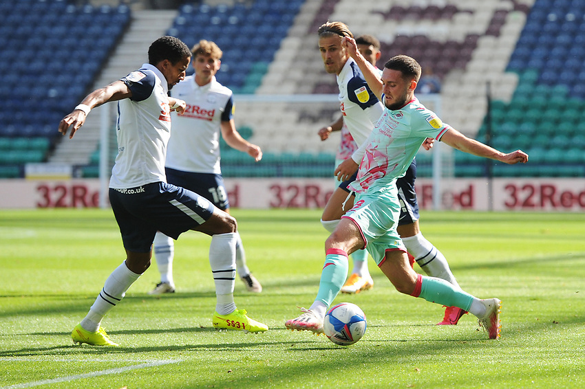 Swansea City's Matt Grimes vies for possession with Preston North End's Scott Sinclair<br /> <br /> Photographer Kevin Barnes/CameraSport<br /> <br /> The EFL Sky Bet Championship - Preston North End v Swansea City - Saturday September 12th 2020 - Deepdale - Preston<br /> <br /> World Copyright © 2020 CameraSport. All rights reserved. 43 Linden Ave. Countesthorpe. Leicester. England. LE8 5PG - Tel: +44 (0) 116 277 4147 - admin@camerasport.com - www.camerasport.com