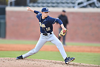 Pittsburgh Panthers pitcher Chase Smith (12) delivers a pitch during a game against the North Carolina Tar Heels at Boshamer Stadium on March 17, 2018 in Chapel Hill, North Carolina. The Tar Heels defeated the Panthers 4-0. (Tony Farlow/Four Seam Images)