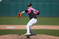 Charlotte Knights relief pitcher Zack Burdi (34) in action against the Gwinnett Stripers at Truist Field on May 9, 2021 in Charlotte, North Carolina. (Brian Westerholt/Four Seam Images)