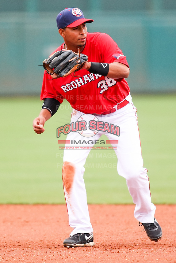 Angel Sanchez (36) in action during the MiLB matchup between the Memphis Redbirds and the Oklahoma City Redhawks at Chickasaw Bricktown Ballpark on April 8th, 2012 in Oklahoma City, Oklahoma. The Redhawks defeated the Redbirds 8-1  (William Purnell/Four Seam Images)