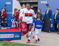 HARRISON, NJ - MARCH 08: Crystal Dunn #19 of the United States enters the field during a game between Spain and USWNT at Red Bull Arena on March 08, 2020 in Harrison, New Jersey.