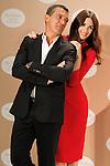 Spanish actors Paz Vega (r) and Antonio Banderas attend the presentation of the perfume 'Her Golden Secret'. September 10, 2013. (ALTERPHOTOS/Acero)