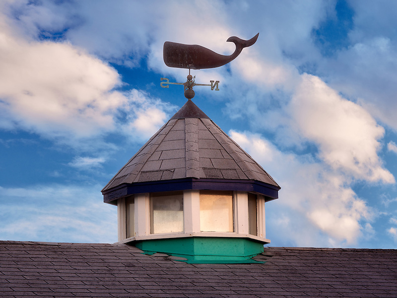 Roof top with whale weather vain. Fisherman's Warf. Monterey, California