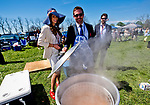 LEXINGTON, KENTUCKY - APRIL 08: Fans take part in a crawfish boil on The Hill on Blue Grass Stakes Day at Keeneland Race Course on April 8, 2017 in Lexington, Kentucky. (Photo by Scott Serio/Eclipse Sportswire/Getty Images)