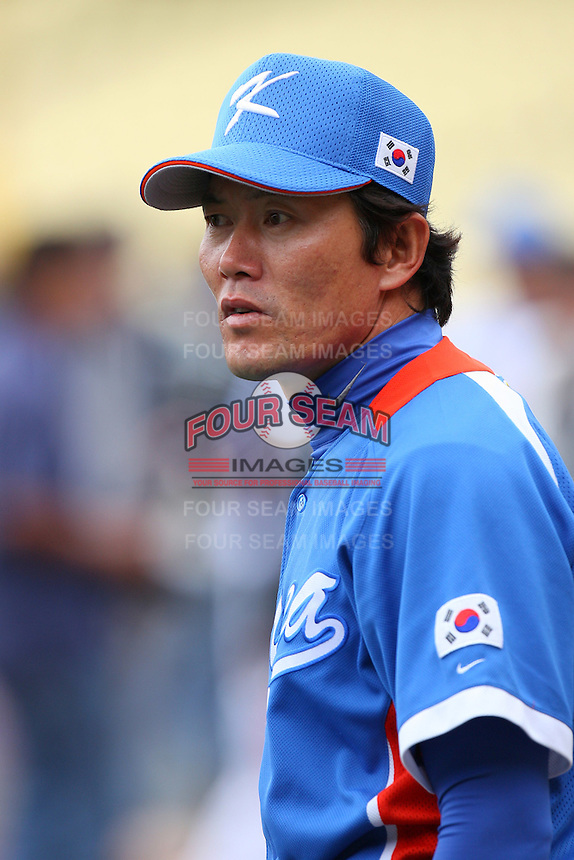 Min Ho Kim of Korea during a game against Venezuela at the World Baseball Classic at Dodger Stadium on March 21, 2009 in Los Angeles, California. (Larry Goren/Four Seam Images)