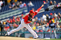 2 April 2011: Washington Nationals starting pitcher John Lannan in action against the Atlanta Braves at Nationals Park in Washington, District of Columbia. The Nationals defeated the Braves 6-3 in the second game of their season opening series. Mandatory Credit: Ed Wolfstein Photo