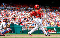11 June 2006: Marlon Anderson, infielder for the Washington Nationals, watches one fly during a game against the Philadelphia Phillies at RFK Stadium, in Washington, DC. The Nationals shut out the visiting Phillies 6-0 to take the series three games to one...Mandatory Photo Credit: Ed Wolfstein Photo..