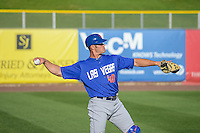 Anthony Recker (40) of the Las Vegas 51s warms up before the game against the Salt Lake Bees in Pacific Coast League action at Smith's Ballpark on June 25, 2015 in Salt Lake City, Utah. Las Vegas defeated the Bees 20-8.  (Stephen Smith/Four Seam Images)