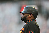 SAN FRANCISCO, CA - AUGUST 27:  Pablo Sandoval #48 of the San Francisco Giants waits in the on deck circle against the Los Angeles Dodgers during game two of a doubleheader at Oracle Park on Thursday, August 27, 2020 in San Francisco, California. (Photo by Brad Mangin)