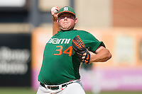 Relief pitcher Taylor Wulf #34 of the Miami Hurricanes in action against the Virginia Cavaliers at the 2010 ACC Baseball Tournament at NewBridge Bank Park May 29, 2010, in Greensboro, North Carolina.  The Cavaliers defeated the Hurricanes 12-8.  Photo by Brian Westerholt / Four Seam Images