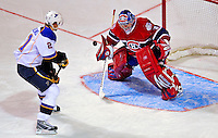 24 January 2009: Montreal Canadiens' goaltender Carey Price makes a save on St. Louis Blues center Patrik Berglund during the YoungStars Game where the Rookies defeated the Sophomores 9-5 in the NHL SuperSkills Competition, part of the All-Star Weekend at the Bell Centre in Montreal, Quebec, Canada. ***** Editorial Sales Only ***** Mandatory Photo Credit: Ed Wolfstein Photo