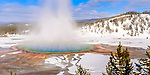 Grand Prismatic thermal pool / hot spring, Midway Geyser Basin, Yellowstone National Park, Wyoming, USA.