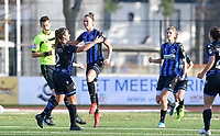 Charlotte Laridon (15 Brugge) pictured celebrating after scoring a goal during a female soccer game between Club Brugge Dames YLA and AA Gent Ladies on the sixth matchday of the 2020 - 2021 season of Belgian Scooore Womens Super League , saturday 7 th November 2020  in Knokke , Belgium . PHOTO SPORTPIX.BE | SPP | DAVID CATRY